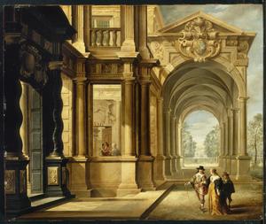Fantasie-paleis met enkele wandelaars voor een galerij