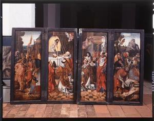 Abraham ontmoet Melchizedech, de Gregoriusmis (buitenzijde linkerluik); De Gregoriusmis, de mannaregen in de woestijn (buitenzijde rechterluik); Arma Christi (buitenzijde bovenluiken)