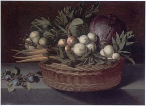Stilleven met een mand met groente