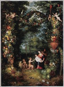 De heilige Familie met Johannes de Doper in een landschap omringd met een guirlande van bloemen en vruchten