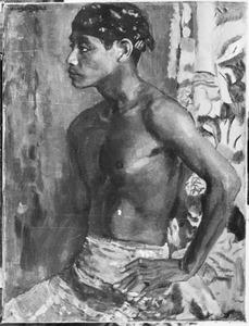 Javaanse man met hoofddoek en ontbloot bovenlijf