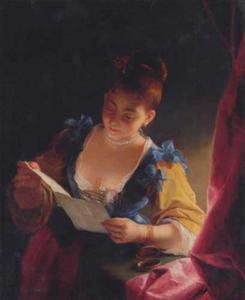 Brieflezende jonge vrouw