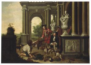 De mislukte jacht: een stroper biedt een fazant aan aan twee jagers die zich voor een klassiek gebouw bevinden.