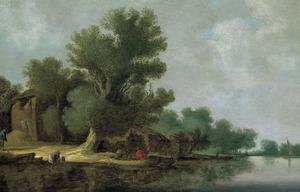 Rivierlandschap met boeren bij een hooimijt en een roeiboot