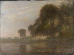 Bend in the Gein with poplars, three isolated, and farm woman with cows