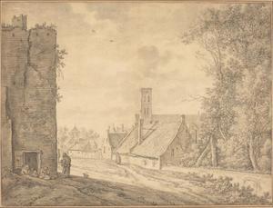 Gezicht vanaf de Utrechtse stadswal naar de Mariakerk