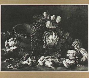 Stilleven van groente, bloemen en een houten emmer