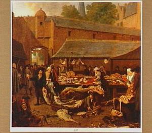 Vismarkt met verkoopsters en klanten