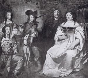 Familieportret van AltetusTolling (1726-1691), Alida Louwsen genaamd Buys (1636-1700) en drie kinderen
