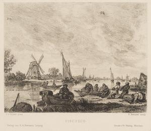 Rivierlandschap met vissers