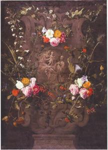 De H. Franciscus-Xaverius in aanbidding voor de Madonna met Kind, in een cartouche met bloemen