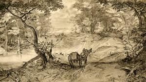 Boslandschap met een kar op een bospad