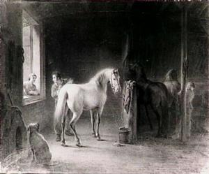 In de stal
