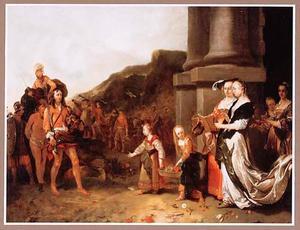 Na zijn overwinning op Goliat wordt David door de vrouwen van Israel ingehaald (1 Samuel 17:54)