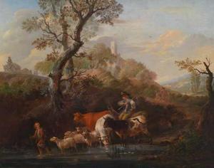 Landschap met herders en hun vee bij een doorwaadbare plaats