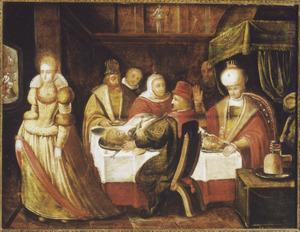 Het hoofd van Johannes de Doper op tafel tijdens het feest van Herodes