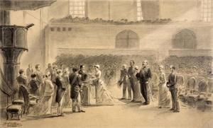 De doop van de latere koningin Wilhelmina (1880-1962) in de Willemskerk te Den Haag op 12 oktober 1880