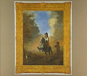 Landschap met een ruiter op een steigerend paard