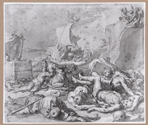 Chariclea verzorgt de gewonde Theagenes na de schipbreuk ( uit Heliodorus' Aethiopica)