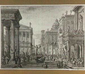 Plein in een klassieke stad met een optocht, een Mercuriusfontein en een kroning (?) onder een baldakijn