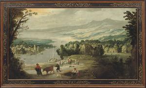 Rivierlandschap met bergen en figuren en boten  bij een dorp