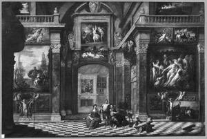 Interieur van een schilderijenkabinet geschilderd door schilders van het Antwerpse St. Lucasgilde met op de voorgrond allegorische figuren van de kunsten