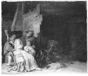 Jonge vrouw die soldaten vermaakt in een schuur