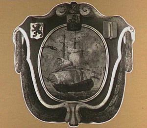 Begrafenisschild van het Groot Schippersgilde, met afbeelding van een koopvaardij fregat