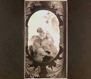 Cartouche met de Heilige Hieronymus