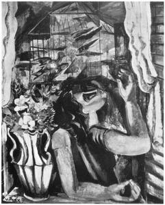 Vrouw bij vogelkooi
