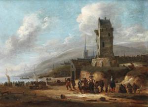Vissers aan het werk op het strand bij een vuurtoren; een dorp in de achtergrond
