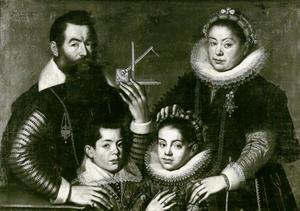 Portret van een wiskundige met zijn vrouw en twee kinderen