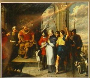Keizer Trajanus veroordeelt Ignatius Theophorus, bisschop van Antiochië ter dood