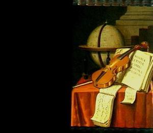 Vanitasstilleven met globe, viool en boeken