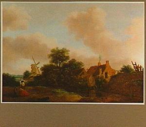 Landschap met dorp met windmolen aan een watertje