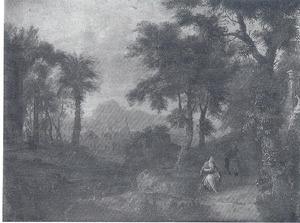 Zuidelijk landschap met de ontmoeting van Juda en Tamar op de weg naar Timnath (Genesis 38:15-16)