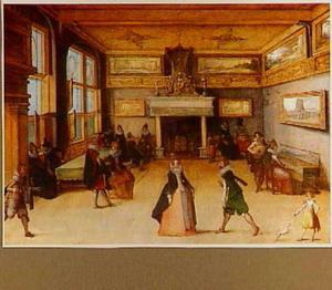 Interieur met dansend en musicerend gezelschap