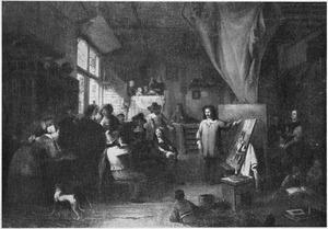 Een kunstenaar toont zijn werk
