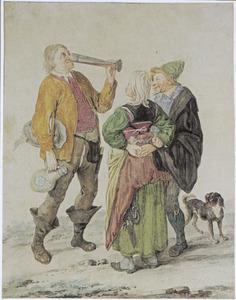 Boerenechtpaar en drinkende man
