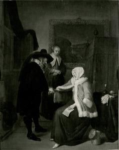 Interieur met een man die de pols van een vrouw voelt en een dienstmeid