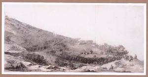 Panoramalandschap met soldaten te paard