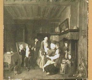 Een familiegroep in een interieur