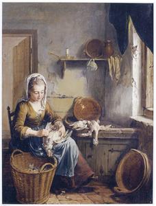 Keukeninterieur met een meid die een kip plukt