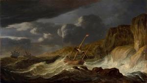 Schepen op een stormachtige zee voor een rotskust