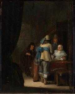 Drie mannen en een vrouw rondom een tafel in een interieur
