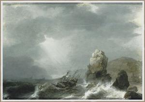 Driemaster in stormachtig weer nabij een rotskust