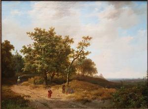 Heuvellandschap met ruiter en rustende wandelaars