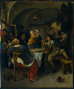 Familie musicerend, rokend, etend en drinkend in een interieur