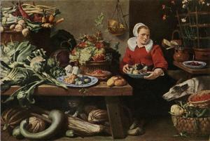 Marktkoopvrouw met groenten, fruit, bloemen, brood, een kat en een hond