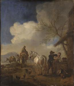 Paardenknecht die een jonge vrouw betast